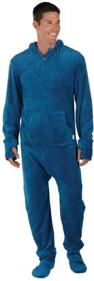PajamaGram Men's Hoodie-Footie Fleece Zip-Front Onesie Pajamas