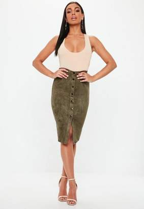 Missguided Button Through Faux Suede Midi Skirt Khaki