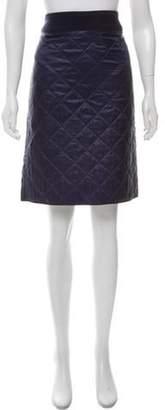 Dries Van Noten Quilted Knee-Length Skirt Navy Quilted Knee-Length Skirt