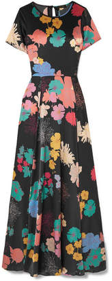 Stine Goya Nanna Floral-print Silk-blend Charmeuse Maxi Dress - Black