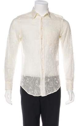 Dolce & Gabbana Embroidered Sheer Button-Up Shirt