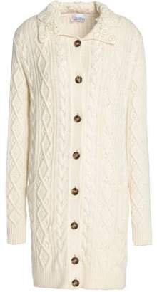 RED Valentino Crochet-Trimmed Cable-Knit Cardigan