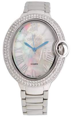 Croton Ladies Silvertone Quartz Watch with Crystal Bezel & Mother of Pearl Dial