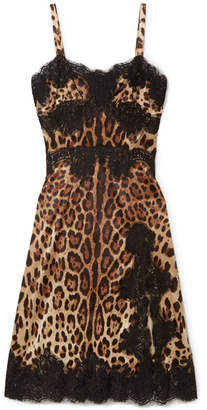 Dolce & Gabbana Lace-trimmed Leopard-print Silk-blend Charmeuse Dress - Black