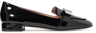 Miu Miu Crystal-embellished Patent-leather Loafers - Black