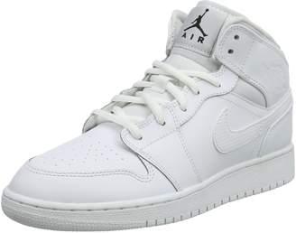 Jordan Air 1 Mid Youth US 5.5 Gray Basketball Shoe