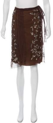 Alberta Ferretti Embellished Silk Skirt brown Embellished Silk Skirt