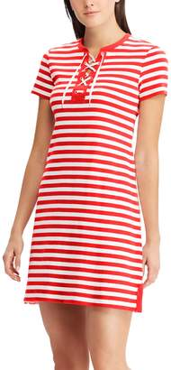 Chaps Women's Striped Lace Up A-Line Dress