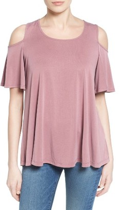 Women's Bobeau Cold Shoulder Flutter Sleeve Top $44 thestylecure.com
