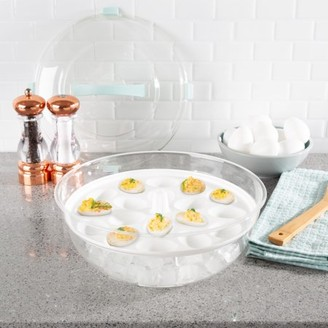 Cold Appetizer Tray-4-in-1 Chilled Platter with Ice Compartment, Lid-Multiuse Bowl, Deviled Egg, 3 Section Carrier Serving Dish by Classic Cuisine
