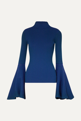 SOLACE London Sattal Ribbed Stretch-knit Turtleneck Top - Cobalt blue