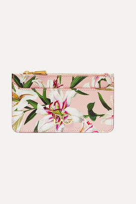 Dolce & Gabbana Lilium Floral-print Textured-leather Cardholder - Pink