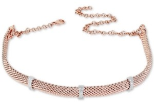 Macy's Diamond Station Mesh Choker Necklace (1/4 ct. t.w.) in Sterling Silver & 14k Rose Gold-Plate