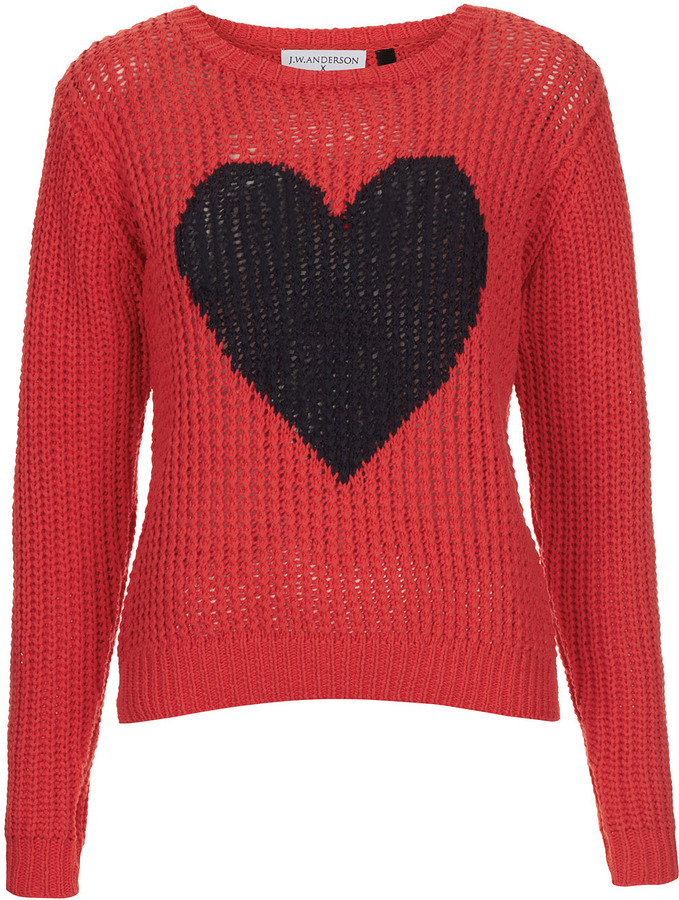 J.W.Anderson **Heart Handknit Sweater By for Topshop