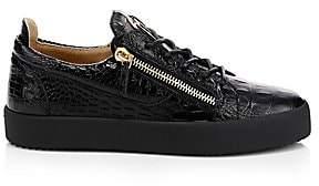 Giuseppe Zanotti Men's Crocodile Embossed Leather Platform Sneakers