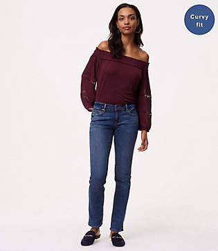 LOFT Tall Curvy Straight Leg Jeans in Mid Staple Indigo Wash