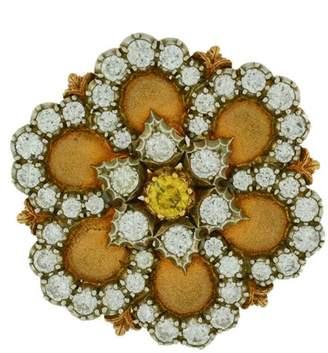 Buccellati 18K Yellow Gold Diamond Flower Vintage Pin