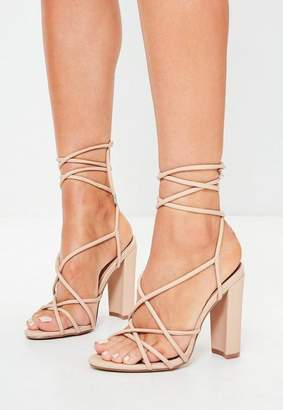 Missguided Nude Curved Block Heel Multi Strap Sandals