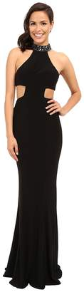 Faviana Jersey Jewl Neck Gown w/ Back Strap Detail 7728 Women's Dress