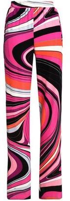 Emilio Pucci Striped Printed Velvet Wide-Leg Pants