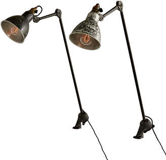 Rejuvenation Pair of Gras No. 201 Clamp Lamps w/ Worn Finishes