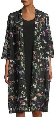 Caroline Rose Fluttering Floral Duster Kimono, Plus Size