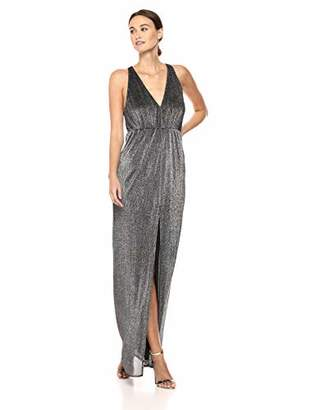 Halston Women's Sleeveless Deep V Neck Metallic Knit Gown