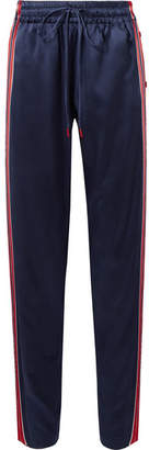 Monse Snap-fastening Striped Silk-blend Satin Track Pants - Navy