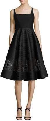 Halston Sleeveless Wide-Neck Stripe Mesh Cocktail Dress