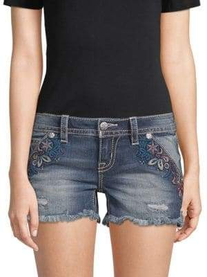 Miss Me Embroidered Denim Shorts