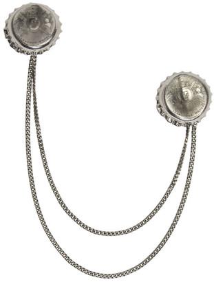 Alexander McQueen Silver Double Cap Brooch $965 thestylecure.com