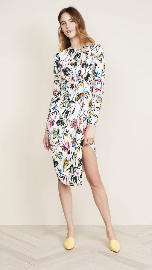 Printed LS Dress with Ties