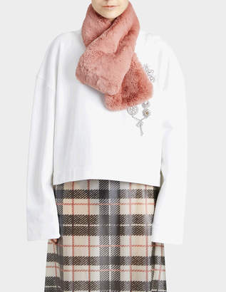 Burberry Reversible Vintage Check To Solid Faux Fur Scarf in Pale Pink Wool