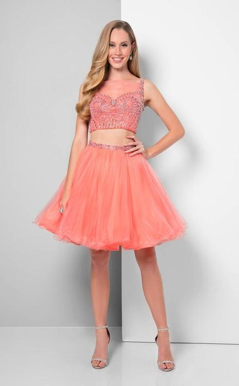 Terani Prom - Detailed Beaded Illusion Neck Two-piece Tulle Dress 1711P2233
