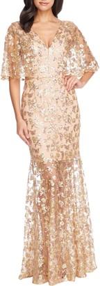Dress the Population Lourdes Sequin Lace Cape Sleeve Gown