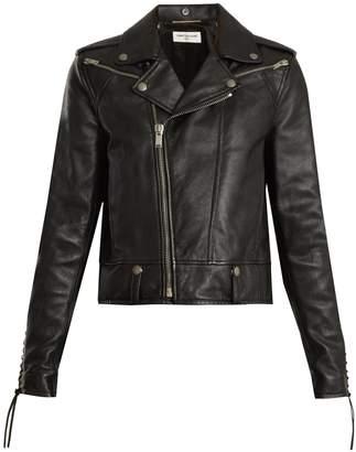 Lace-up motorcycle leather jacket
