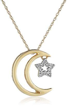 14k Yellow Gold Moon and Star Diamond Pendant Necklace