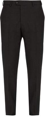 Officine Generale Paul Plaid Wool Flannel Trousers - Mens - Dark Grey