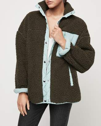 Express Oversized Cozy Color Block Teddy Jacket