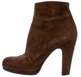 Miu Miu Suede Round-Toe Ankle Boots