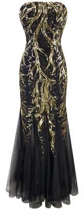 Angel-fashions Women's Unique Strapless Paillette Tree Branch Net Mermaid Gown Dress (XL, Red Black)