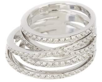 d44ce7eb7 Swarovski Spiral Rhodium Plated Pave Crystal Multi Band Ring - Size 6.75