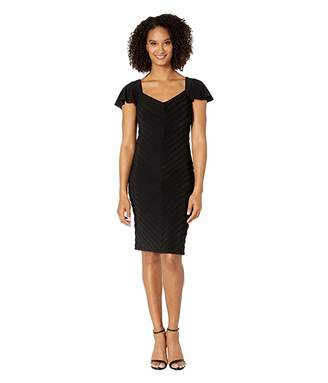 Adrianna Papell Matte Jersey Pintucked Sheath Dress with Flutter Sleeves
