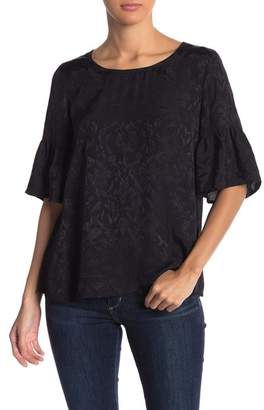 Lucky Brand Luxe Jacquard Floral Print Top