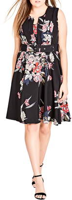 City Chic Misty Floral Fit & Flare Dress
