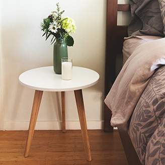 Mid-Century MODERN STNDRD. End Table: Perfect Bedside Nightstand or Living Room Side/Accent Table - White Round Tabletop & 3 Bamboo Legs [1-Pack]