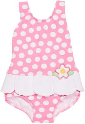 Florence Eiseman Petal-Skirt Polka-Dot One-Piece Swimsuit, Size 6-24 Months