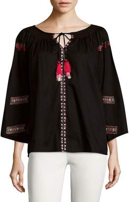 Kas Women's Dora Embroidered Peasant Cotton Blouse