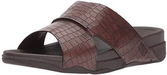FitFlop Men's Bando Leather Croc Slide Sandal