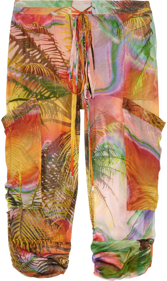 Matthew Williamson Tropical-print silk-mousseline pants